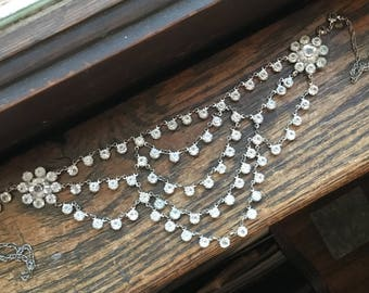 Art Deco flower rhinestone bib necklace choker