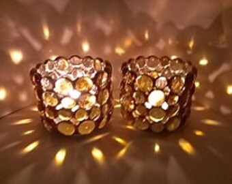 Stained Glass Candle Holders Amber Gold Glass Gems Rustic copper patina