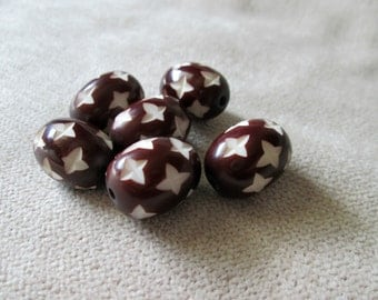 Brown Oval Beads, Brown and White Tribal Style 14 mm by 18 mm, Faux Bone Beads, Faux Horn Beads, Beads with Stars, Set of 6