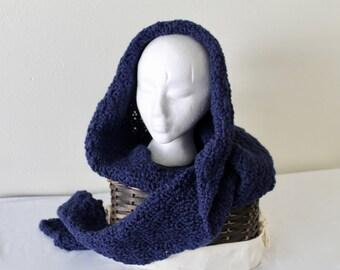 Hooded Scarf, Crochet, Women or Teen, Navy Blue, Hoodie
