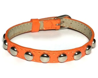 Studded Leather Bracelet, Orange Leather Bracelet, Orange Buckle Bracelet, Women's Orange Leather Bracelet, Adjustable Leather Wristband