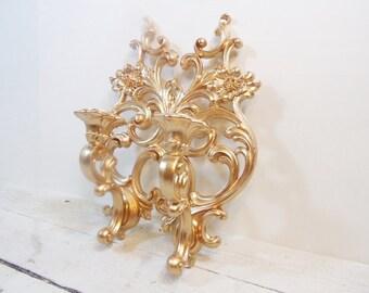 Vintage Gold Sconces Hollywood Regency Glam Victorian Decor Syroco