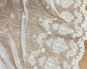Beige Cotton Tulle Lace Fabric, Wedding Tulle Lace Fabric, Curtains Draping & Dress Lace Fabric by Yard