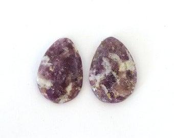 Lepidolite Designer Cab Gemstone Matched Pair 28.9x35.9x5.5 mm 25.5 carats Free Shipping