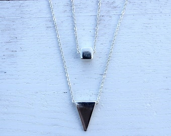 Simple Triangle Necklace, Silver