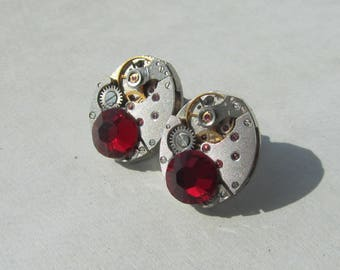 Steampunk Gothic Stud Earrings small vintage  watch movements and Royal Red Swarovski crystals, Steampunk Jewelry Gift, women gift ideas