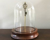 Vintage Glass Dome Display with Wire Stand / Small Cloche / Watch Dome Display