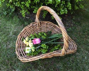 Vintage Extra Large Flat Flower Basket......Wedding...Willow Gathering Basket....Photo Prop