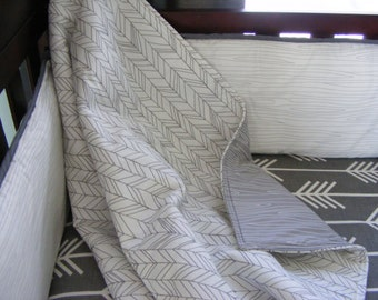 Baby Bedding Premium Fabrics White and Grey  Modern Crib Bedding