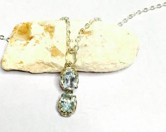 Vintage Aquamarine CZ Pendant/Necklace, Silver, Art Deco, Clearance Sale, Item No. S003b
