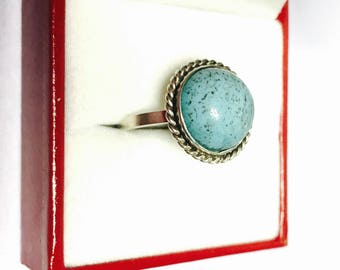 Sterling silver Turquoise ring Size 6., 3D Boho jewelry, Clearance Sale, item No. S321