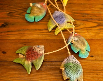 Vintage Colorful Glass Fish on Rope Stringer Tropical Fish Decor