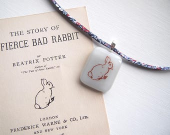 Grey glass necklace - Beatrix Potter - Bunny - Liberty print fabric - blue and red pattern - The Story of A Fierce Bad Rabbit - fused glass