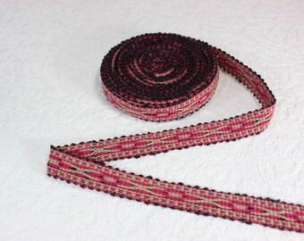 Woven Trim (6 yards), Woven Border, Cotton Ribbon, Grosgrain Ribbon, Dress Border, Border Trim, R188