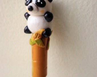Panda Pen/ Bamboo/ Polymer Clay Pen/ Refillable/ Useable Art/ OOAK