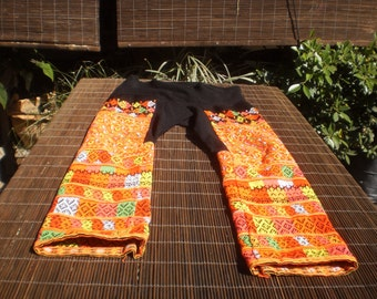 Vintage hand Embroidered Textile, Yao Hilltribe Trousers, Tribal Vintage Embroidered Textile