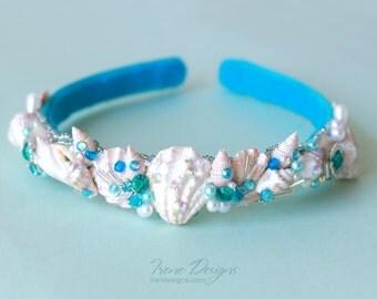 Mermaid's Bridal headband. Beach wedding hairpiece. Beach Wedding Hair Accessory
