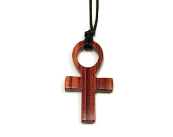 Ankh Necklace - Wooden Ankh Necklace - Carved Tulipwood Ankh - Mens Necklace - Womens Pendant