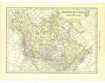 1921 Hammond's Vintage Map Pages (Dominion of Canada on one side and Prince Edward Island / Nova Scotia on the other side)