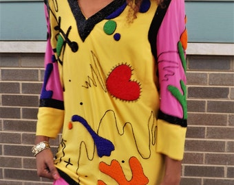 RESERVED 1980's Graphic Beaded Silk Tunic--Fabrice--Neiman Marcus.  Size 8.