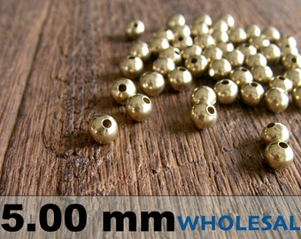 500 Pcs (5 mm)  Brass Beads - Round beads -Brass Spacer-