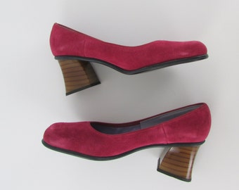 Raspberry Dream Pumps w/ Stacked Heel - Vintage 1970s NOS Suede Pink Heels in 8 - 8.5 W or 38.5 - 39 Euro