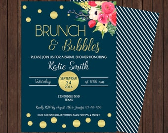 Brunch and Bubbles Watercolor and Gold Foil Flower Bridal and Baby Shower Invite