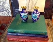 Vintage Pair of Cloisonné Vases, Cobalt Blue Background with Peonies, Orange Accents