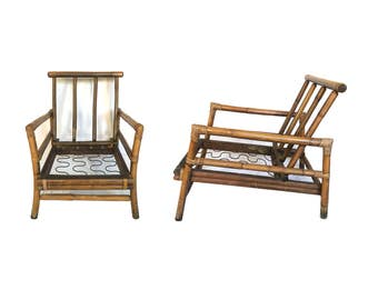 Vintage Bamboo and Rattan Lounge Chairs, Pair, Ficks Reed Style