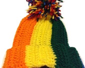 Handmade Rainbow Crochet Ribbed Stitch Skull Beanie Hats Gift