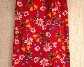 Bold Bright Vintage Faux Wrap Around Summer Skirt - Great Design, Beautiful Flowers, Vintage Fun