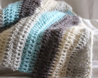 Alpaca and silk multi-colored shawl/scarf