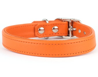 Orange Leather Dog Collar - Handmade in the UK