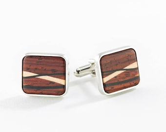Wooden Inlay Cuff Links, Cocobolo or Ebony with Inlaid Hardwoods. Stylish, Handmade in USA. Grooms Gift, Office Wear, Gift for Boyfriend