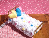 Dollhouse Bedspread Miniature Chenille Bedspread Single Bed Dollhouse Bedding Mini Flowers Bedspread 12th Scale Bedspread Small Doll Bedding