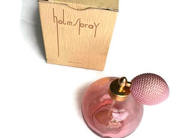 Vintage Holmspray Atomizer Pink Glass Bottle