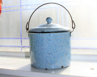 Antique Graniteware Berry Bucket Blue and White