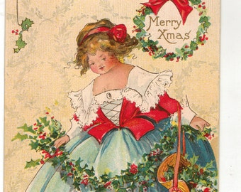 Vintage Christmas Postcard, Young Girl Making Holly Swag, 1913, Artist Signed