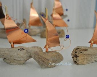 Standing driftwood sailboat favors -wedding favors - bridal shower favor- baby shower favor