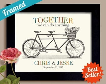 Lesbian Wedding Gift Together We Can Do Anything Gay Marriage Tandem Bicycle Unique Engagement Gift Framed Art Print for Couples