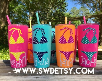 Beach BACHELORETTE Party Cups / Yeti like tumbler / Double Walled tumbler with Lid & Straw / Beach Bachelorette / Personalized Party Cups