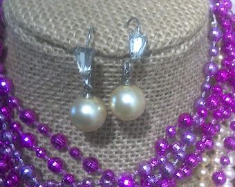 Cream Faux Pearl with Crystal Drop Earrings