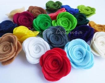 Felt Flowers . Set of 20 pieces, Die Cut Shapes, Applique, Party Supply, DIY Wedding, felt roses, felt supplies, felt flower shapes