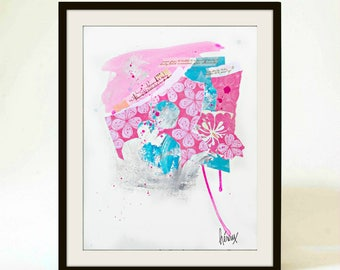 "Original Fine art collage, wall art decor, pink collage, modern mixed media collages, pink and blue art, spring decor, by Heroux, 11""x14"""