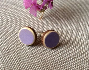 purple wooden earrings / painted round earrings / sterling silver studs / lavender / gift for her  / for sister / post earrings