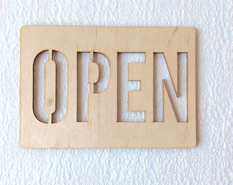 wooden sign OPEN /  plywood sign /  wall decor / office decor / wooden plate