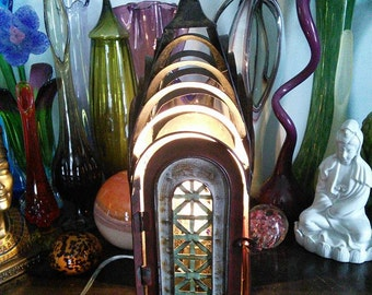Upcycled Metal Cathedral lamp