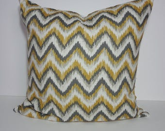 Nate Berkus Designer Pillow Cover,  Ahmar Citrine Print, Yellow, Grey, Gray, Zig Zag, Chevron Pillow Cushion, 22 x 22