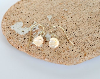 Keishi Pearl Earrings, Tiny Dangly Petal Shaped Freshwater Pearls, Each is Unique, Sterling Silver Earhooks, Clip on Available, Gift Boxed
