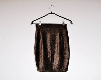 Vintage Stretchy High Waist Crushed Velvet Brown Body Con Mini Skirt